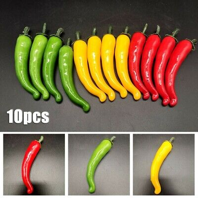 £4.44 • Buy 10x Fake Chillies 3 Colors Artificial Chillies Fruit Shops Home Large Brand New