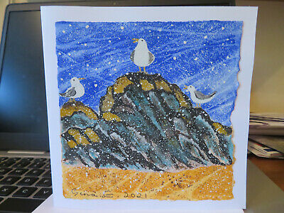 £3 • Buy HAND PAINTED CHRISTMAS CARD.Hand Made. 'Seagulls In Snow'. 8 By 6  (Not A Print)