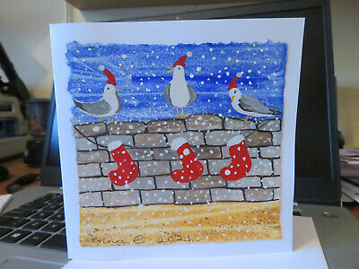 £3 • Buy HAND PAINTED CHRISTMAS CARD.Hand Made.'Seagulls At Christmas'(Not A Print) 6 By6