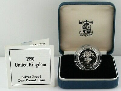 £9.99 • Buy 1990 Royal Mint Welsh Leek Silver Proof One Pound £1 Coin, COA Blue Box