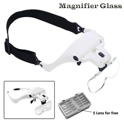 £14.25 • Buy Magnifying Glass Headset 2 LED Light Head Headband Magnifier 5 Lens With Box UK