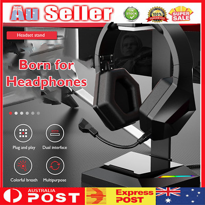 AU33.19 • Buy Gaming Headset Stand RGB USB Headphones Display Holder For Gamer Gaming PC