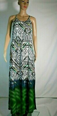 £2 • Buy SIZE 10 Women's Ladies Black And Green Floral Floor Length Sleeveless Dress