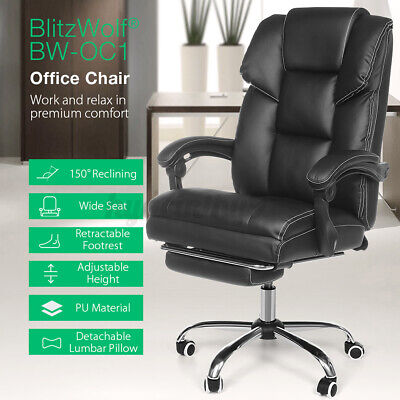 AU118.99 • Buy BlitzWolf Office Chair Executive Gaming Chairs 150° Reclining PU Leather Footres