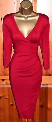 AU21.64 • Buy Phase Eight Maisie Red Wrap Fine Knit Jumper Dress Uk 14