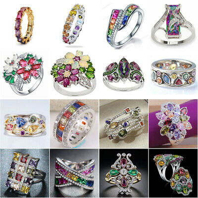 £1.85 • Buy 925 Silver Rings Cubic Zirconia Pretty Jewelry For Women Wedding Ring Size 6-10
