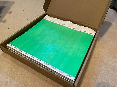 £14.99 • Buy 1000 GREEN (25mm) Plain Tyvek Wristbands For Festivals, Event, Party, Security