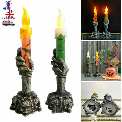 £5.49 • Buy Halloween Skeleton Hand Led Lamp Candle Flame Light Stand Lamp Party Decorations