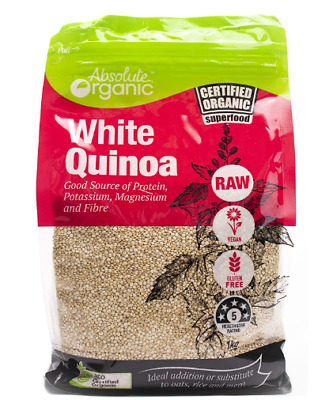 AU14.48 • Buy Absolute Organic White Quinoa 1kg | FAST AND FREE SHIPPING | NEW AUS