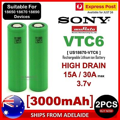 AU20.95 • Buy 2X Sony 18670 VTC6 3.7V 3000mAh Rechargeable Lithium Ion Battery HIGH DRAIN CELL