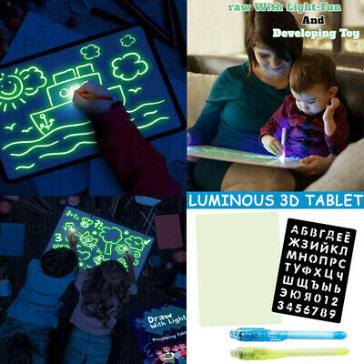 AU22.98 • Buy Light Up Drawing Fun Developing Toy Draw Sketchpad Board Portable For Kids Hot