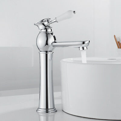 £35.59 • Buy Traditional Bathroom Taps Tall Basin Mixer Taps Ceramic Handle Brass Counter Top
