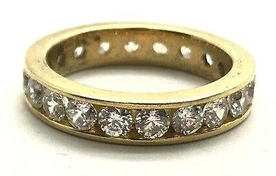 £22.37 • Buy Sterling Silver Gold Tone Channel Set CZ Pave - Eternity Cocktail Band Ring 6.75