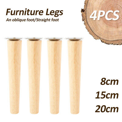 AU20.69 • Buy 4 X Wooden Furniture Legs + Pads Turned Feet Lounge Couch Sofa Cabinet Raw~