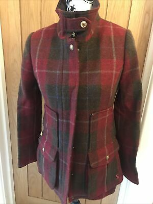 £115 • Buy Bnwt Joules Tweed Red Check Field Coat / Jacket - Size 8