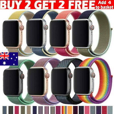 AU10.98 • Buy Nylon Woven Strap For Apple Watch IWatch Series 3/4/5/6 38-44mm Sport Loop Band