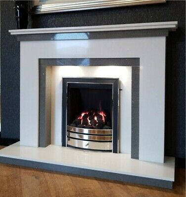£599 • Buy Marble Fire Surround Complete Hearth And Back Panel (White)
