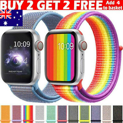 AU10.99 • Buy 38/42/40/44mm Nylon Sport Loop IWatch Band Strap For Apple Watch Series 6 5 4 3