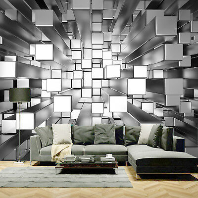 AU38.93 • Buy 3D Colours Cubes Silver Wallpaper Photo Pattern Wall Mural Home Room Poster Deco