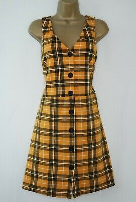 £0.99 • Buy New Look Mustard Tartan Check Pinafore Dress Size 8 Button Front