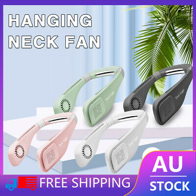 AU27.29 • Buy Rechargeable Portable Leafless Neck Fan Cooler Dual Effect Cooling Neckband USB