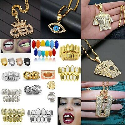 £3.49 • Buy Hip Hop Pendant Necklace Chain & Teeth Grills 24K Plated Jewellery Punk Bling UK