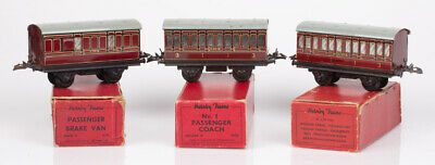 £21.99 • Buy 3 Hornby O Gauge No.1 LMS Red 2 X Passenger Coaches 1st / 3rd & Brake Van Boxed