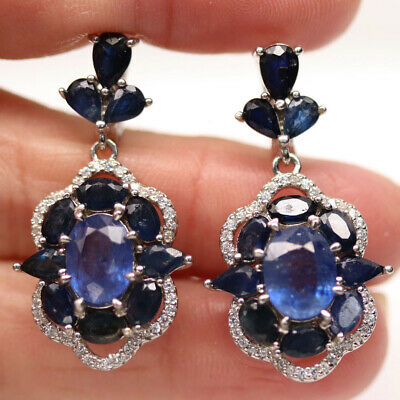 AU72.73 • Buy Natural Blue Sapphire & White Cz 925 Sterling Silver Earrings
