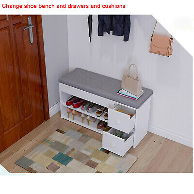 £40.98 • Buy 2-Tier Shoes Bench Entryway Storage Shoe Rack Storage Stool With Two Drawers New