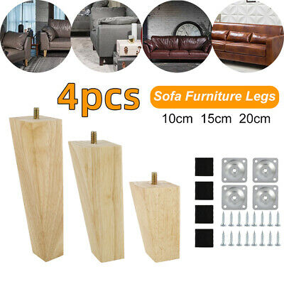 AU29.35 • Buy 4 PCS Wooden Furniture Legs&Pads Turned Feet Lounge Couch Sofa Cabinet +Screw