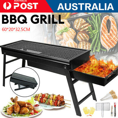 AU32 • Buy 1x Foldable Portable BBQ Grill Charcoal Hibachi Barbecue Camping Roaster Picnic