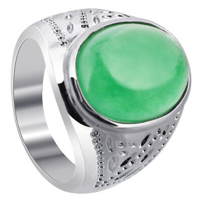 £7.97 • Buy Men's Silver Plated On Copper Oval Green Gemstone Ring Size 8 - 11