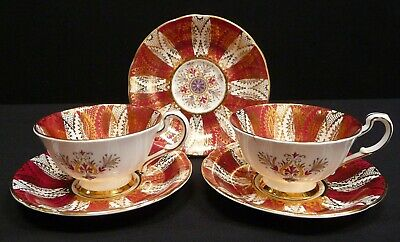 £34.99 • Buy Paragon Red And Gold Fine Bone China Cups And Saucers