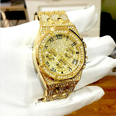 £5.15 • Buy OMEDLY Luxury Mens Watches Gold Diamond Gift Business New Wrist Watch For Men
