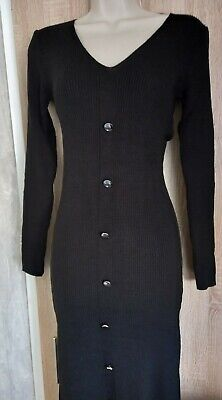 £9.99 • Buy Button Front Split Knitted Midi Black Dress Size Uk L  Approx Size 14 BOOHOO