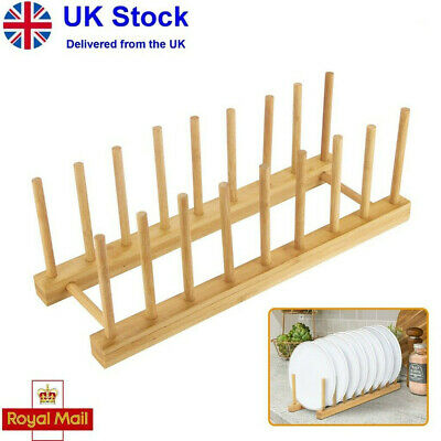 £6.29 • Buy Kitchen Wooden Plate Rack Wood Dish Drainer Vertical Dish Drying Wooden Holder P