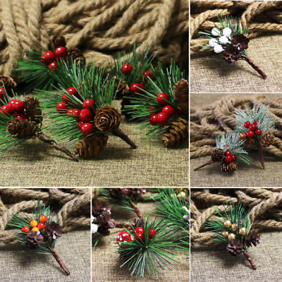 £6.59 • Buy 10Pcs Fake Snow Frost Pine Branch Cone Berry Holly Xmas Tree Christmas Ornament