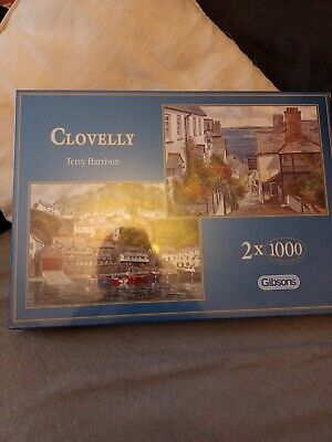 £14.99 • Buy Gibsons 2 X 1000 Piece Jigsaw Clovelly Terry Harrison New & Sealed