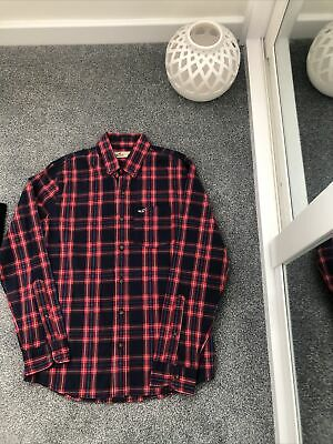 £0.99 • Buy Hollister Checked Long Sleeve Shirt, Navy & Red Size S