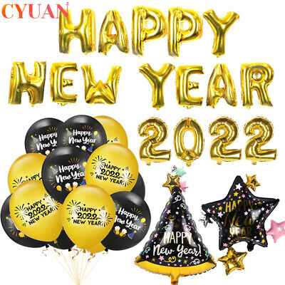 £1.30 • Buy 2022 Happy New Year Party Decorations Balloons Gold Numbers New Year Eve Decors