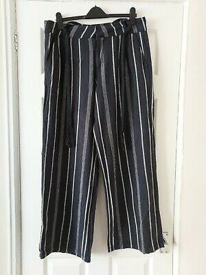 £3.99 • Buy Ladies Blue/white Striped Casual Linen  Trousers With Belt Size 16 L31''