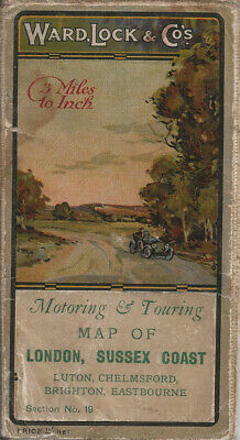 £7.50 • Buy OLD WARD LOCK ROAD MAP (3m To 1 ) - Section 10 - LONDON & SUSSEX COAST - 1920s