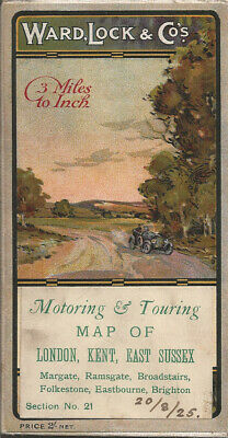 £9.99 • Buy OLD WARD LOCK ROAD MAP (3m To 1 ) - Section 21 - LONDON, KENT, E. SUSSEX - 1920s