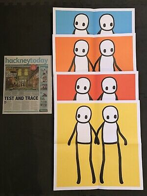 £320 • Buy STIK Holding Hands Prints Set Of Four With Hackney Today Newspaper.