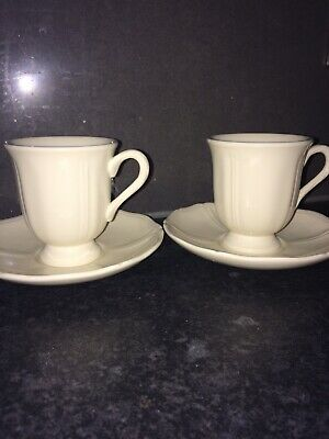 """£6.50 • Buy Wedgwood Queens Ware """"Queens  Plain"""" Set Of 2 Footed Cup And Saucers Vgc"""