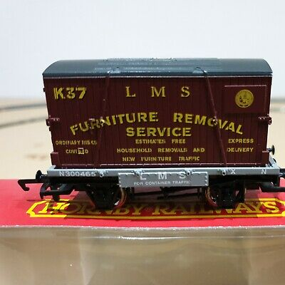 £12.50 • Buy HORNBY R6013  LMS CONFLAT WAGON N300465 & FURNITURE CONTAINER LOAD K37 Pre Owned