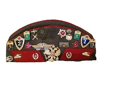£2 • Buy Genuine Soviet Tank Officer Uniform Hat Pilotka W/ Badges And Patches