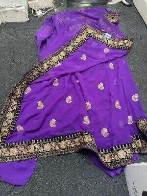 £14.99 • Buy Elegant Asian Indian Purple Saree, Blouse Piece To Be Sewn, Brand New
