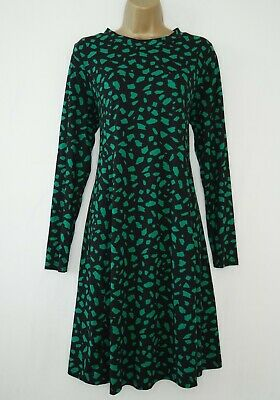 AU2.96 • Buy New Look Maternity Black Green Print Jersey Fit & Flare Dress Size 14 Tunic
