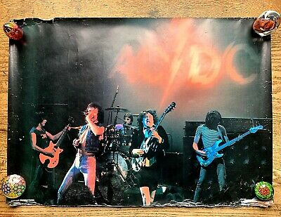 $74.52 • Buy VERY RARE 1980 AC/DC Concert BAND POSTER 20  X 27  A. REYES Latino Productions